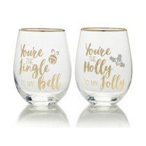 Üvegpohárszett 2db-os, 468ml, Jingle Bells Holly Jolly,fényes arany felirat, Celebrations, Mikasa
