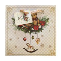Karácsonyi mackó ajándék táska (17x17x6cm)