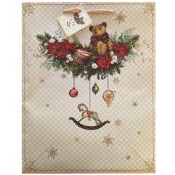 Karácsonyi mackó ajándék táska (33x26x13cm)