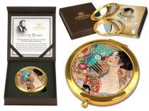 Kézitükör nagyítós, fémkeretben, dobozban 11cm Klimt:Lady with Fan