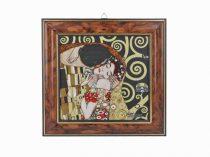 H.C.261-8821 Kép fa jellegű műanyag keretben ,18x20cm,Klimt: The Kiss