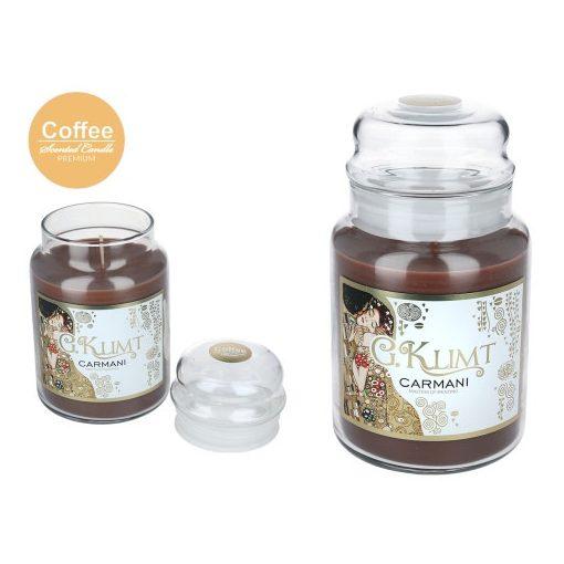 """Illatgyertya üvegben Klimt:The Kiss"""",650g,18cm,kávé"""""""