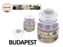 Illatgyertya üvegben, Budapest, 335g, 10cm, levendula