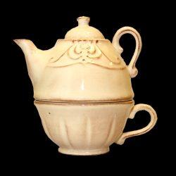 V.K.27-36 Romantik kanna csészével,natúr,kerámia,kézzel festett