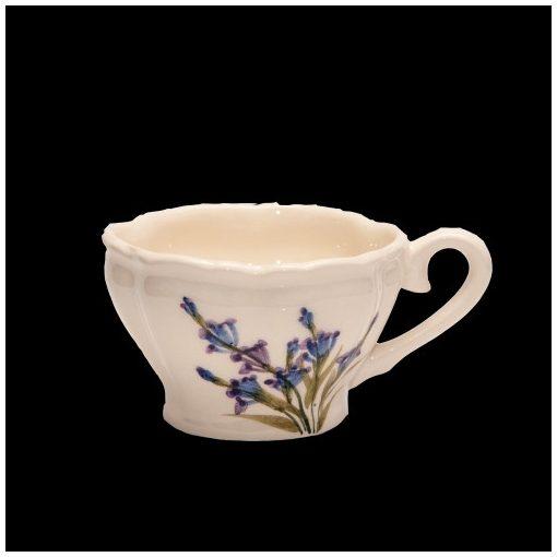 Romantik festett kávéscsésze,levendula,kerámia,kézzel festett