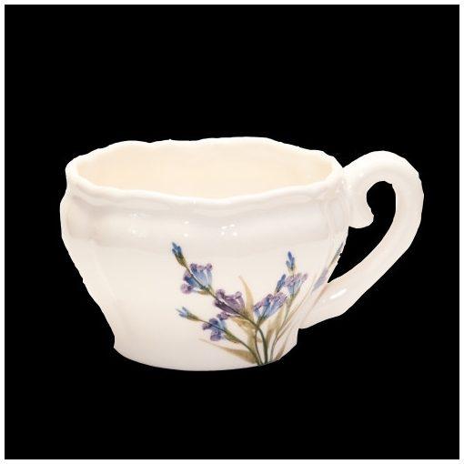 Romantik festett teáscsésze,levendula,kerámia,kézzel festett