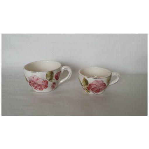 Domború mintás kávéscsésze,virágos bordó,kerámia,kézzel festett