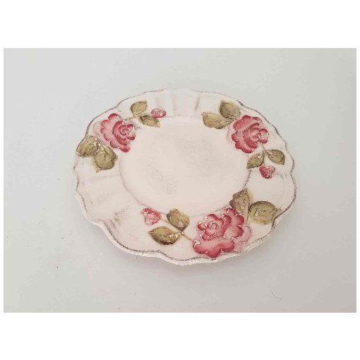 Domború mintás desszerttányér,virágos bordó,kézzel festett