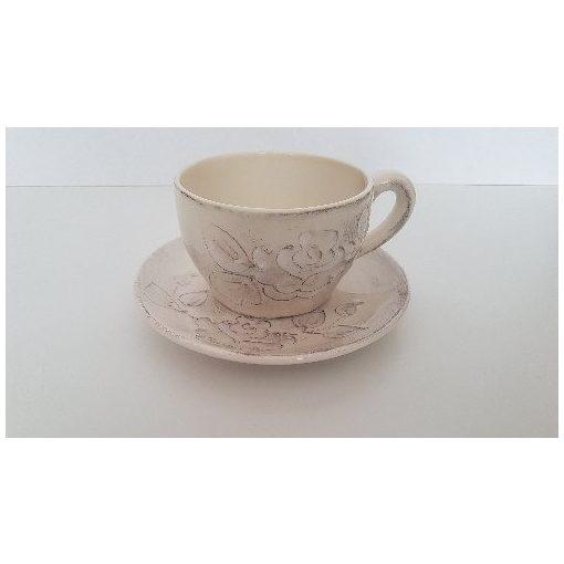Domború mintás teáscsésze,virágos natúr,kerámia,kézzel festett