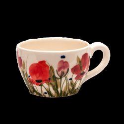 V.K.43-05 Tele virágos kávéscsésze,pipacs,kerámia,kézzel festett
