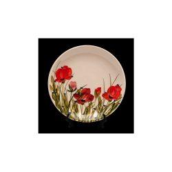 V.K.43-06 Tele virágos kávésalj,pipacs,kerámia,kézzel festett