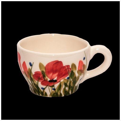 Tele virágos teáscsésze,pipacs,kerámia,kézzel festett