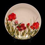 V.K.43-08 Tele virágos teástányér,pipacs,kerámia,kézzel festett