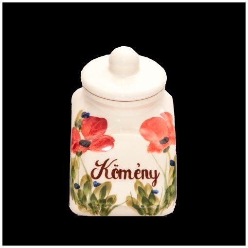 Tele virágos fűszertartó kicsi,pipacs,kerámia,kézzel festett