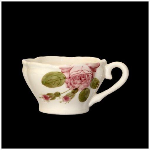 Romantik rózsás kávéscsésze,kerámia,kézzel festett
