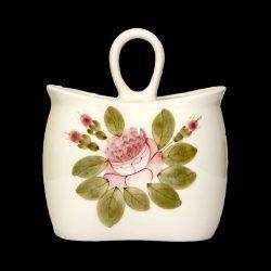Romantik rózsás álló fakanáltartó,kerámia,kézzel festett
