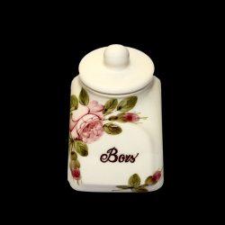 V.K.44-21 Rózsás fűszertartó kicsi,kerámia,kézzel festett