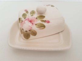 V.K.44-35 Romantik rózsás vajtartó,kerámia,kézzel festett